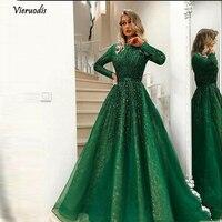Великолепный зеленый блестящий бисером вечернее платье 2019 одежда с длинным рукавом Abiye Винтаж Кристалл кружевные Выпускные платья Vestido Longo 1
