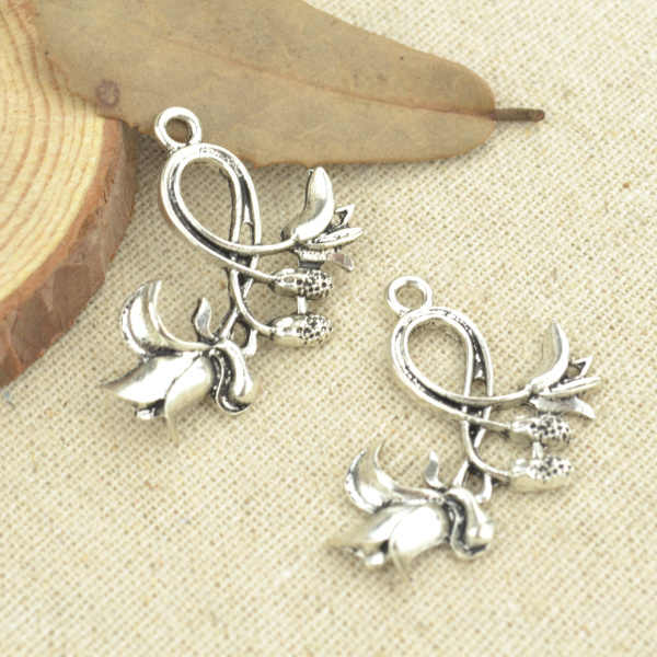 10 Pcs 32*30 mm Antique Silver Tone  flower Charms DIY Jewelry Making 2501