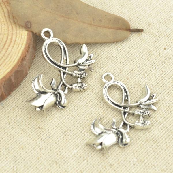 10 Stücke 32*30mm Antik Silber Ton Blumen Charms Diy Schmuck Machen 2501 Reine WeißE