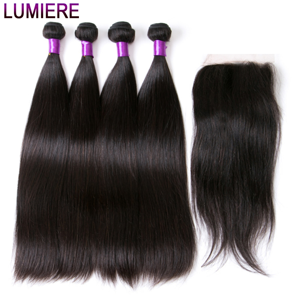 Lumiere Hair Malaysian Hair Weave Bundles Straight Bundles With Closure Non Remy Human Hair 4 Bundles