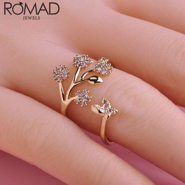 eee7ab2a0 Hot Selling Index Finger Female Open Rings Temperament Cubic Zirconia  Twisted Flower Butterfly For Women Engagement Wedding Ring