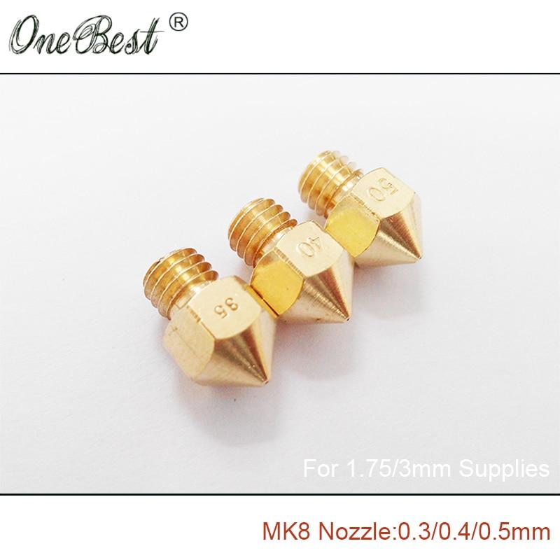 2017 100 New 3Pcs Reprap Makerbot MK8 Brass Nozzle 0 2 0 25 0 3 0
