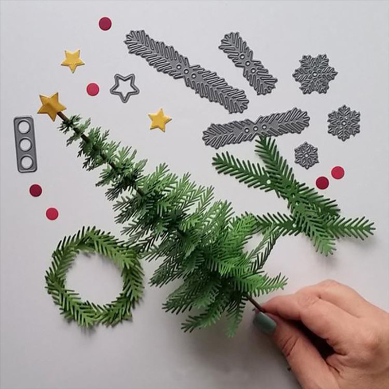 Us 1 86 32 Off Christmas Tree Leaf Cutting Dies Template Punch Scrapbooking Album Diy Decorative Embossing Suit Stencils Metal Paper Cards In