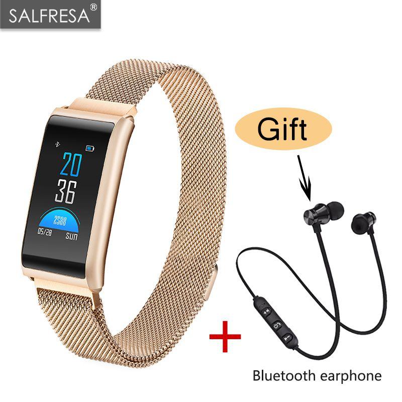 Inteligente pressão Arterial Pulseira Banda Esporte SALFRESA De Calorias da Frequência Cardíaca Do Bluetooth Relógio Inteligente Relógios de Alarme À Prova D' Água fone de ouvido Livre