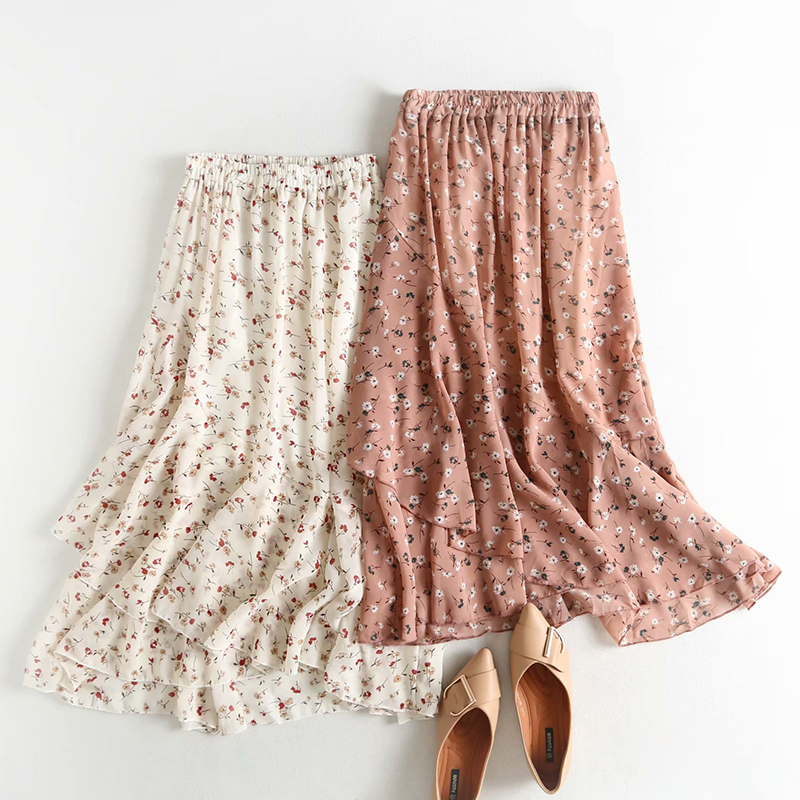 Sweet Girl Asymmetrical Beige Long Skirt 2019 Women Summer Pink Floral Print Ruffles Skirts Female High Elastic Fairy Skirt ZA