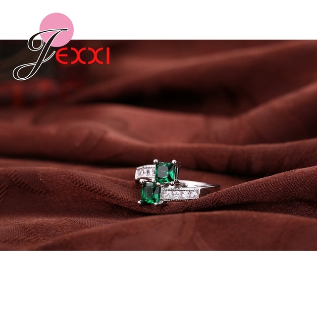JEXXI 2019 Fashion Green CZ    S90 Silver Wedding Rings For Women Luxury Engagement Party Ring Jewelry