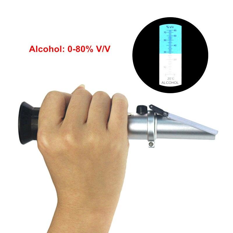 0-80% V/V De Poche Alcool Réfractomètre ATC Esprits Testeur Alcoomètre Refratometro Portable Pour Liqueur Vin Contenu Mètre