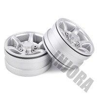 "INJORA 4Pcs Silver 1.55"" Aluminum Alloy Wheel 1.55 Beadlock Rim for 1/10 RC Crawler Car D90 TF2 Tamiya CC01 LC70 LC80 5"