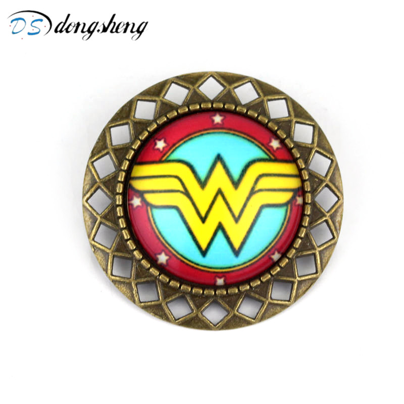 dongsheng Jewelry Wonder Woman Brooch Glass Cabochon Brooches Vintage Crest Pin Badge Women And Men Accessories Gift-40