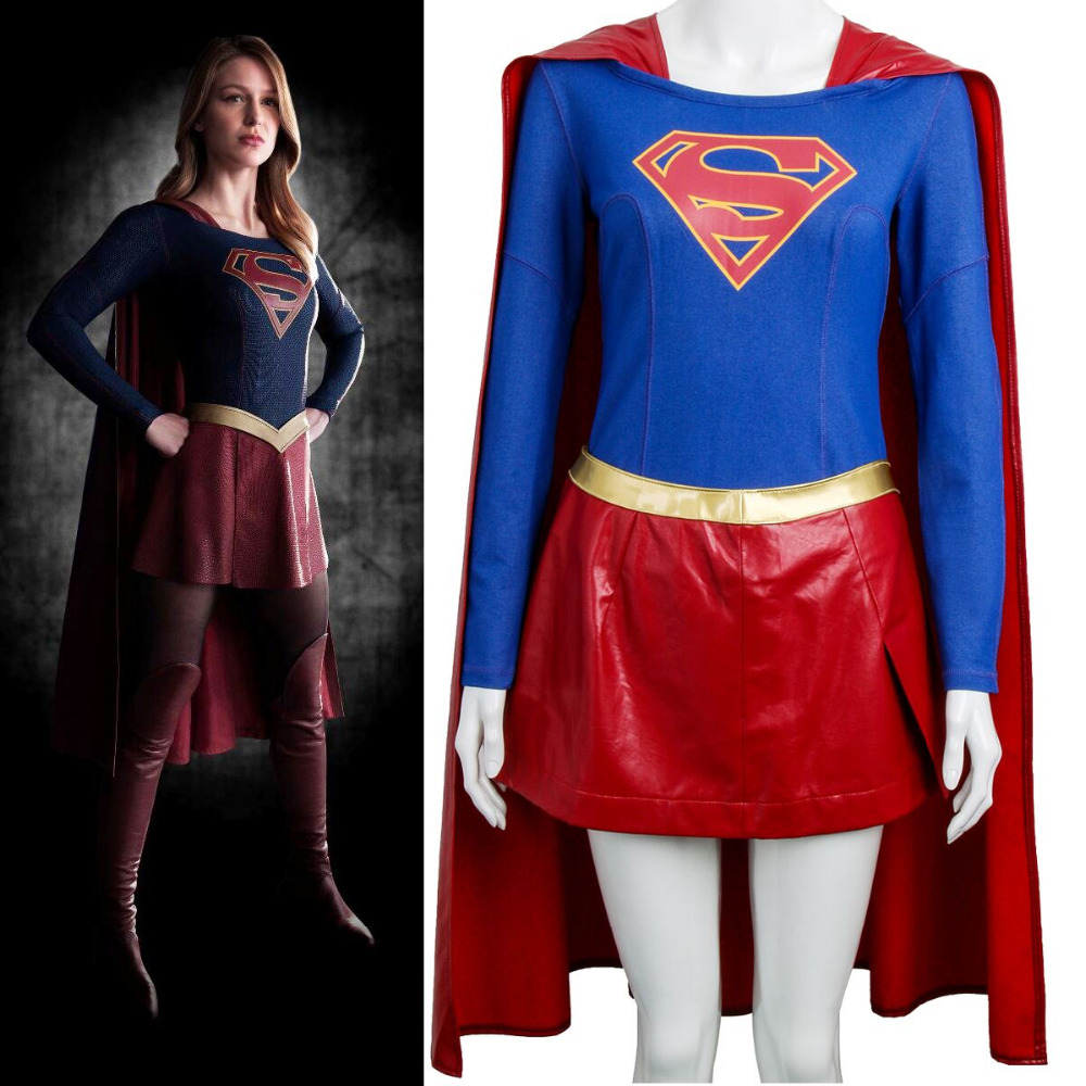 Loyal Superhero Supergirl Kara Zor-el Danvers Costume Cosplay Ladies Wonder Woman Costume Dress Superwoman Red Cap Halloween Customes