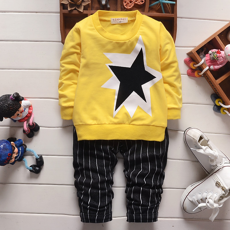 Spring baby boy clothing sets 2016 new fashion newborn baby suits 2pcs long sleeve pullover printed jacket+striped pants