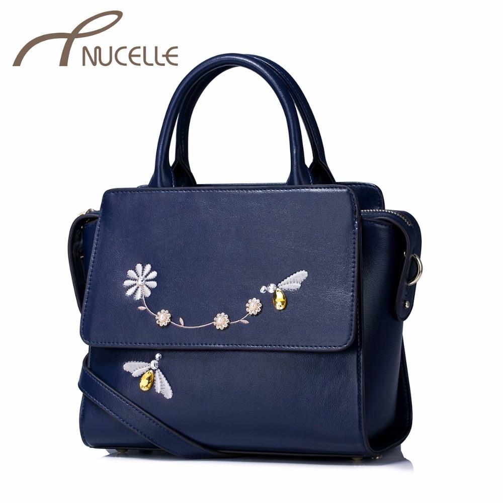 ФОТО NUCELLE Women PU Leather Handbags Ladies Casual Embroidery Messenger Tote Purse Female Leisure Wings Diamond Brief Bag NZ41025