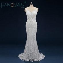 Luxury Lace Mermaid Wedding Dresses 2019 Full Beads Crystal Bridal Gowns Vestido De Novia Sirena Con EncajeGelinlik