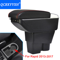 For Skoda Rapid 13 17 Armrest Box Central Store Content Box Cup Holder Ashtray Interior Car styling Decoration Accessory Part