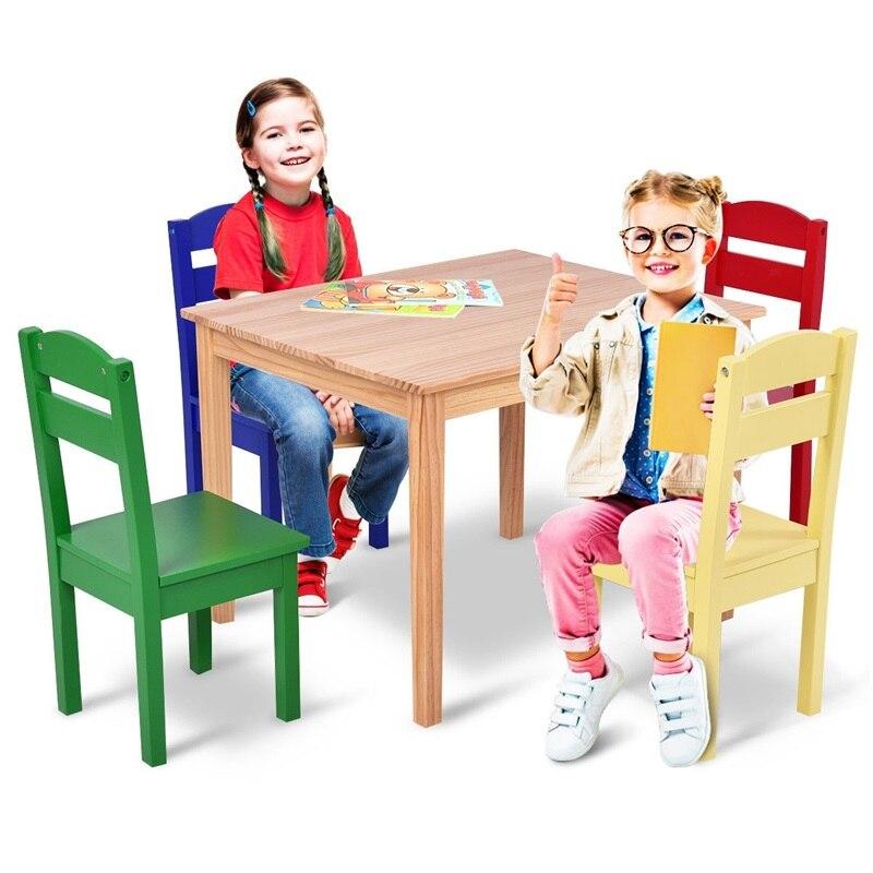 5 Pcs Kids Pine Wood Table Chair Set Desk Chairs Muticolor Natural Color Children Table Set HW55008
