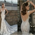 Berta 2016 New Arrival Lace Mermaid Wedding Dresses Spaghetti Straps Deep V Neck Backless Applique Bridal Gowns With Long Train