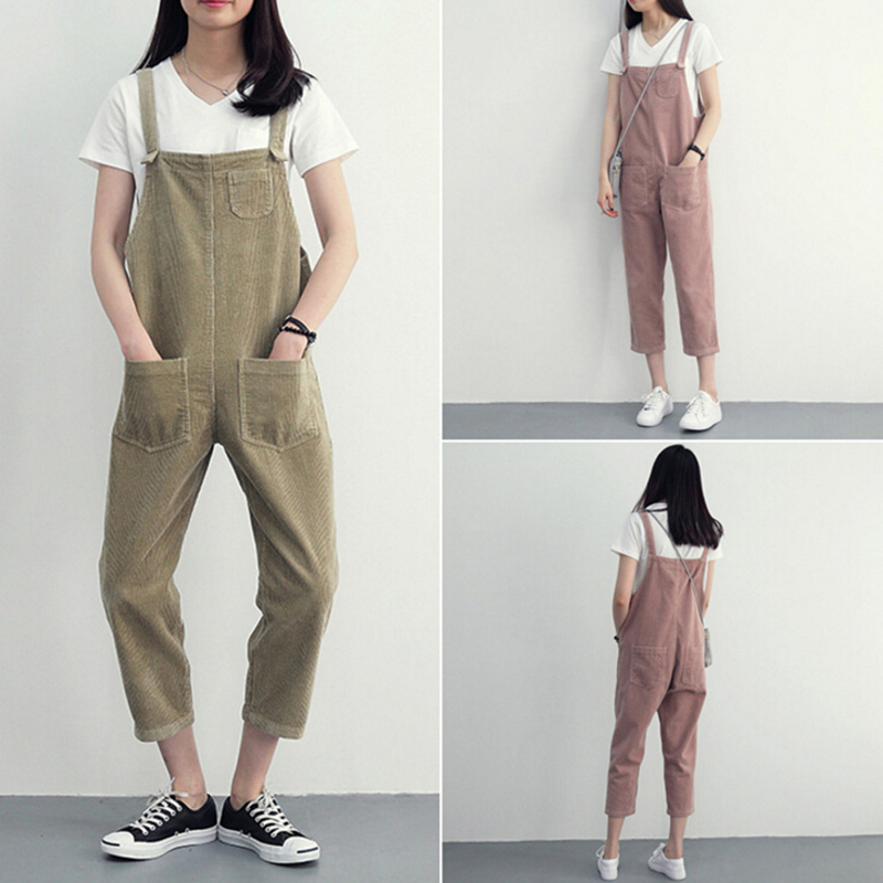 Punk Strap Baggy Pants Women's Cotton Linen Full Trousers Spring Loose Harem Pants Women With Pockets