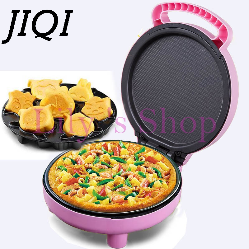 JIQI Electric Crepe Maker mini Pizza baking Bakery cooking Machine Multifunctional Muffin Pancake cake Baked Machine EU US plug pizza bakery machine automatic pizza cone machine for sale