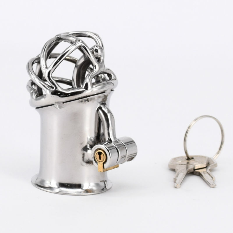 Extreme Confinement Chastity Cage Penis Piercing Stainless Steel PA Lock Chastity Device Male Cock Cage Sex Toys For Men wearable penis sleeve extender reusable condoms sex shop cockring penis ring cock ring adult sex toys for men for couple
