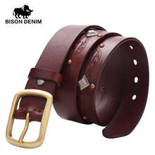BISON DENIM High quality mens belts Punk rock designe pin buckle cowboy belts for men Vintage rivet belt men W71032