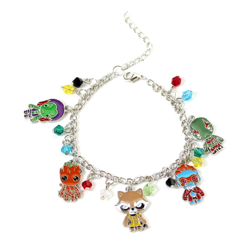 Cute Guardians of the Galaxy Crystal beads Pendent Charm Bracelet Bangle Alloy Cosplay Gift