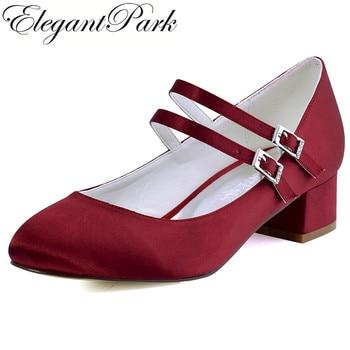 FC1615 Shoes Woman Dark Red Plus Size 12 Block heel Mary Jane Comfort Heel Satin Bride Lady Wedding Bridal Evening Pumps White