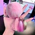 Silk Tassel Bag Charm Rex Rabbit Fur Ball Fluffy Keychain fur pom pom keychains llaveros mujer portachiavi porte clef fourrure