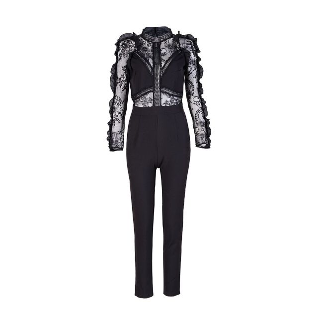 2017 Winter Jumpsuit Women Full Length Black High Neck Lace Long Sleeve Patchwork Celebrity Party Runway Bodysuit Wholesale