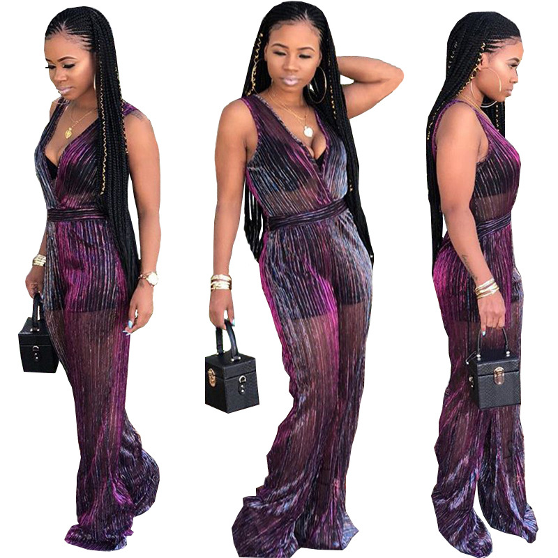 Striped Bodice Wide Leg Jumpsuit Purple Mesh V neck Sleeveless Loose Jumpsuit Women Party Jumpsuit
