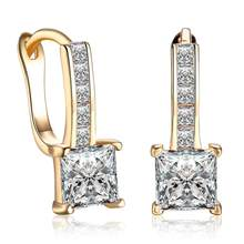 Individually Clip-on&Screw Back Earring Zircon Square Gold Generous Temperament Designer Jewelry For Women Romantic Earring(China)