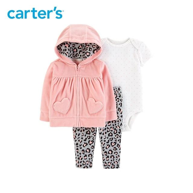 7bef3bcd1 Carters 3Pcs baby girl clothes long sleeve hooded fleece coat ...