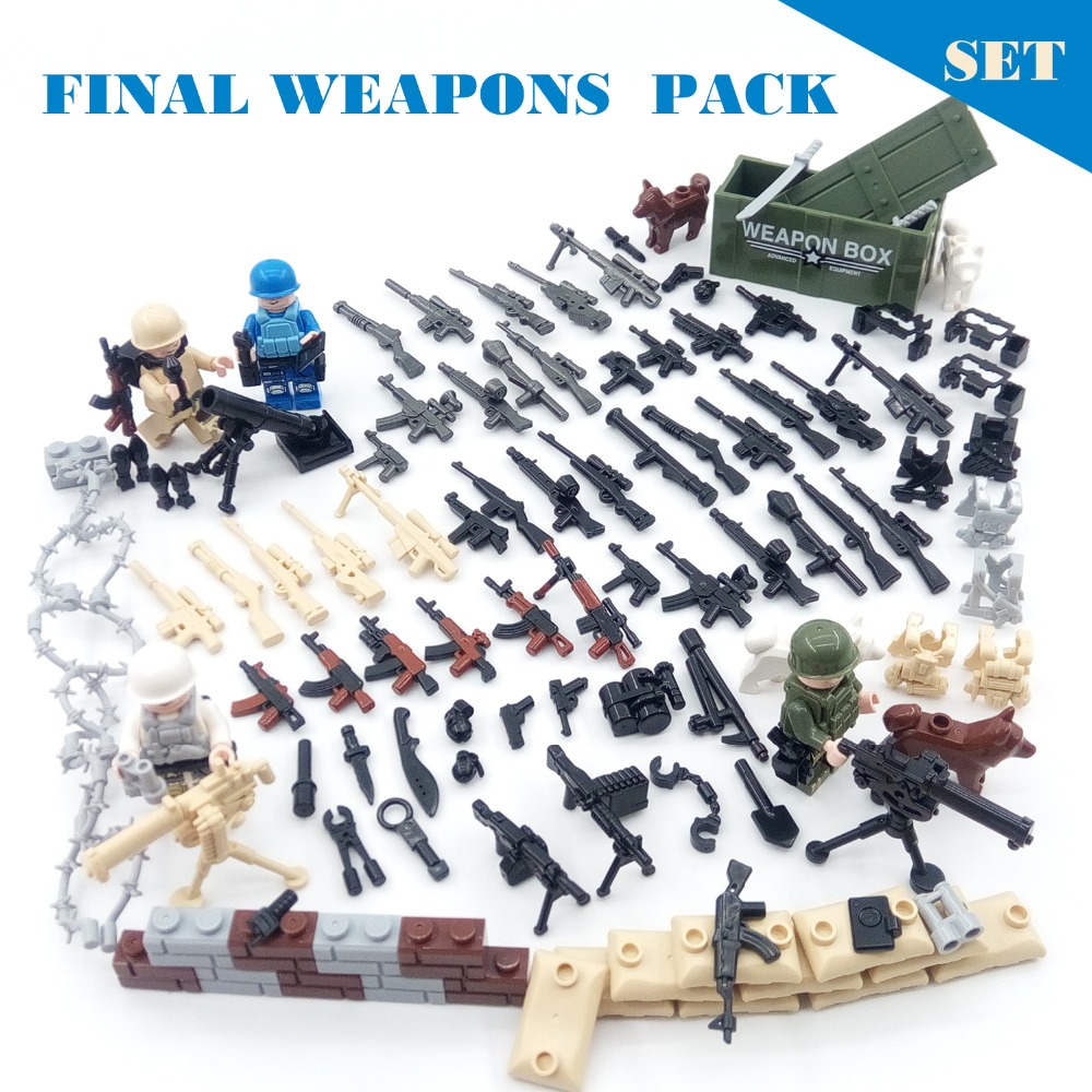 111PCS/Lot Guns Military Weapons Set Pack DIY Arms Blocks Soldier Army Police SWAT building Brick WW2 War Compatible legoed Toy military swat team city police armed