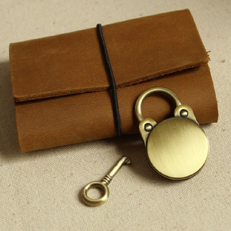 Dagbok Notebook Lock Bagagebältnyckel Lås Antik bronsfärg - Möbel - Foto 5