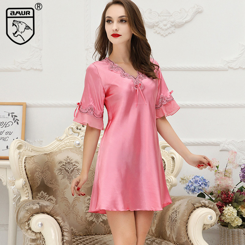 4fa957e6d0 Women Nightdress V-neck Sleepwear Ladies Nightgown Lingerie Bedgown Pajama  Bathrobes Maternity Home Nighty Smooth Summer Cool