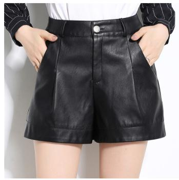 M/<font><b>4Xl</b></font> Womens Black Large Size Wide Leg Pu <font><b>Leather</b></font> Shorts High Waist <font><b>Sexy</b></font> Female <font><b>Leather</b></font> Shorts Mujer Spring Autumn Short K963 image