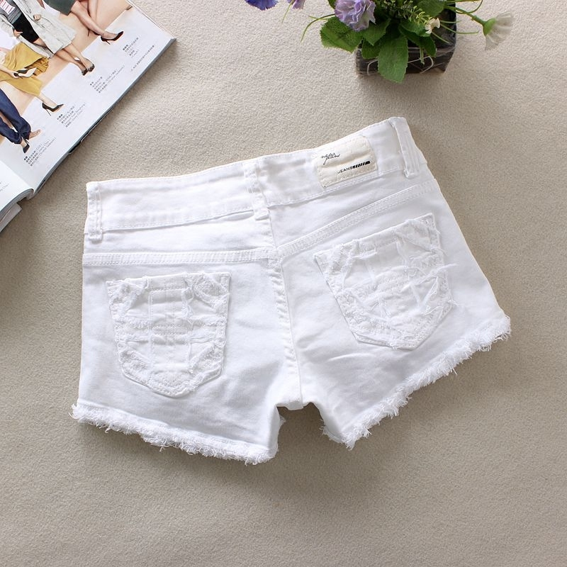 Black/White Spring Summer Denim Shorts Ripped Casual Middle Waist Fashion Stretchy Sexy Jeans Shorts Shorts Femme S/2Xl J2885
