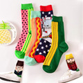 Korean Fashion Colorful Happy Socks Men Fruit Characters Jacquard Cotton Sockken In Tube Funny Crazy Socks 702w