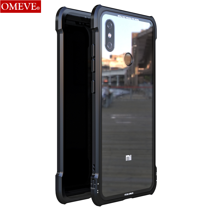 OMEVE For Xiaomi Mi 8 Case Mi8 Explorer Case Anti-explosion Tempered Glass Back Cover Alloy Metal Frame Bumper For Xiaomi8 Pro