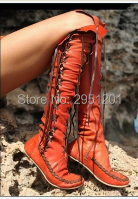 Cross Strap Gladiator Flats Boots Lace Up Women Motorcycle Boots High Quality Cut Out Knee High Fashion Long Boots Free Shipping brand designer faux leather strappy roman goth gladiator thong lace up bandage sandals knee high boots flat shoes free shipping
