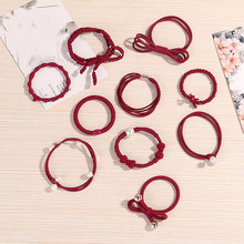Fashion 10PCS/Lot Sweet Girls Hair Scrunchie Rubber Bands Paerl Elastic 8 Colors Cross Women Rope Telephone Wire