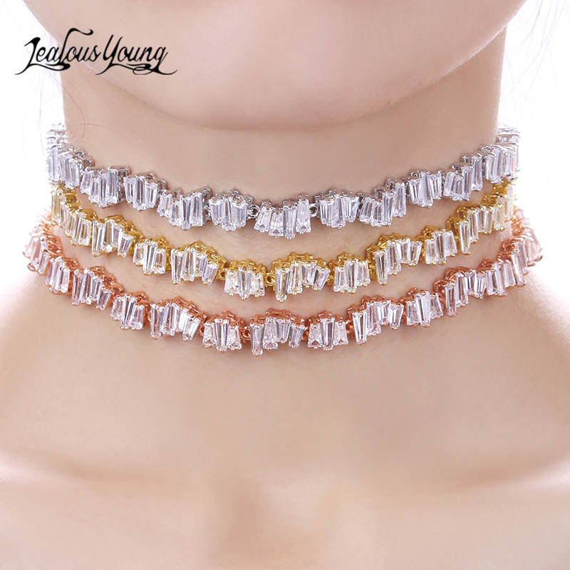 Fashion AAA Zirconia Choker Necklace Thin Irregular Array Choker Rose Gold Color Necklace Women Collier Colar AN010