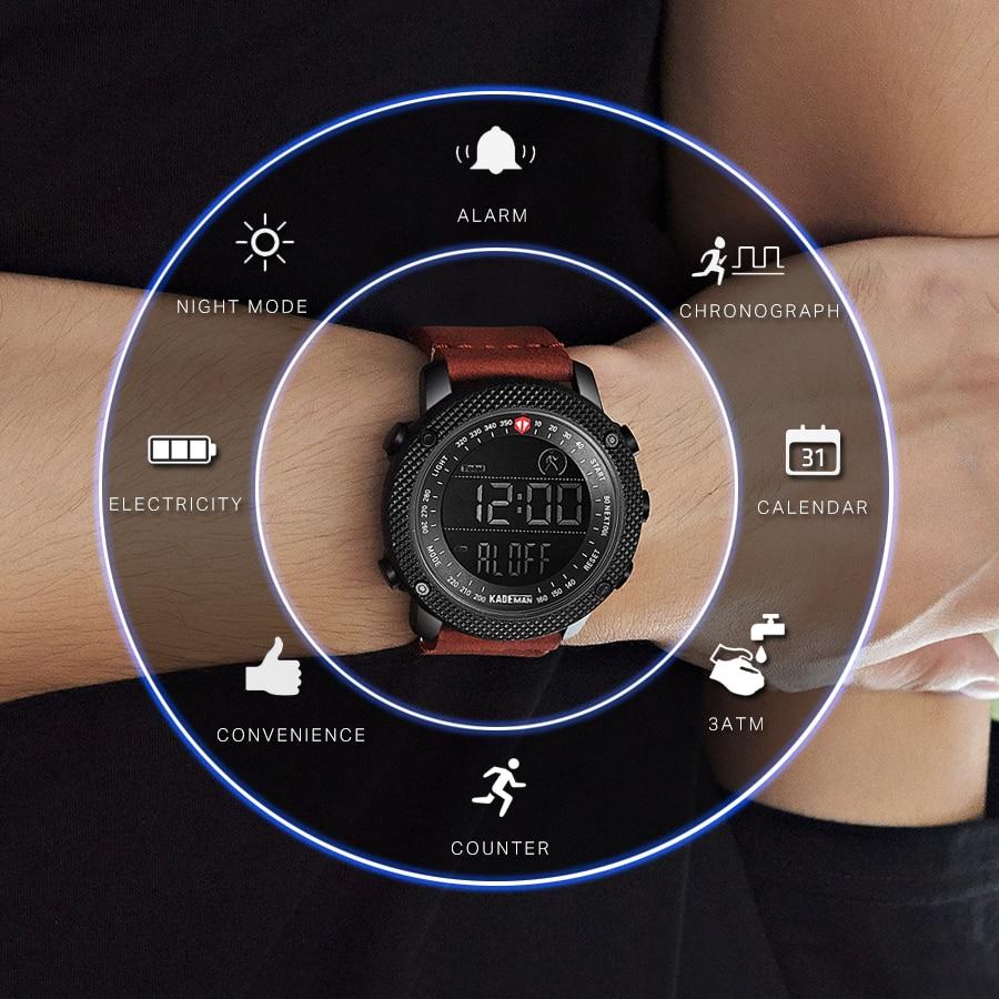 KADEMAN Men กีฬานาฬิกา Pedometer แคลอรี่แบรนด์หรูนาฬิกาข้อมือหนังทหารชายนาฬิกากันน้ำ 30m-ใน นาฬิกาข้อมือดิจิตอล จาก นาฬิกาข้อมือ บน title=