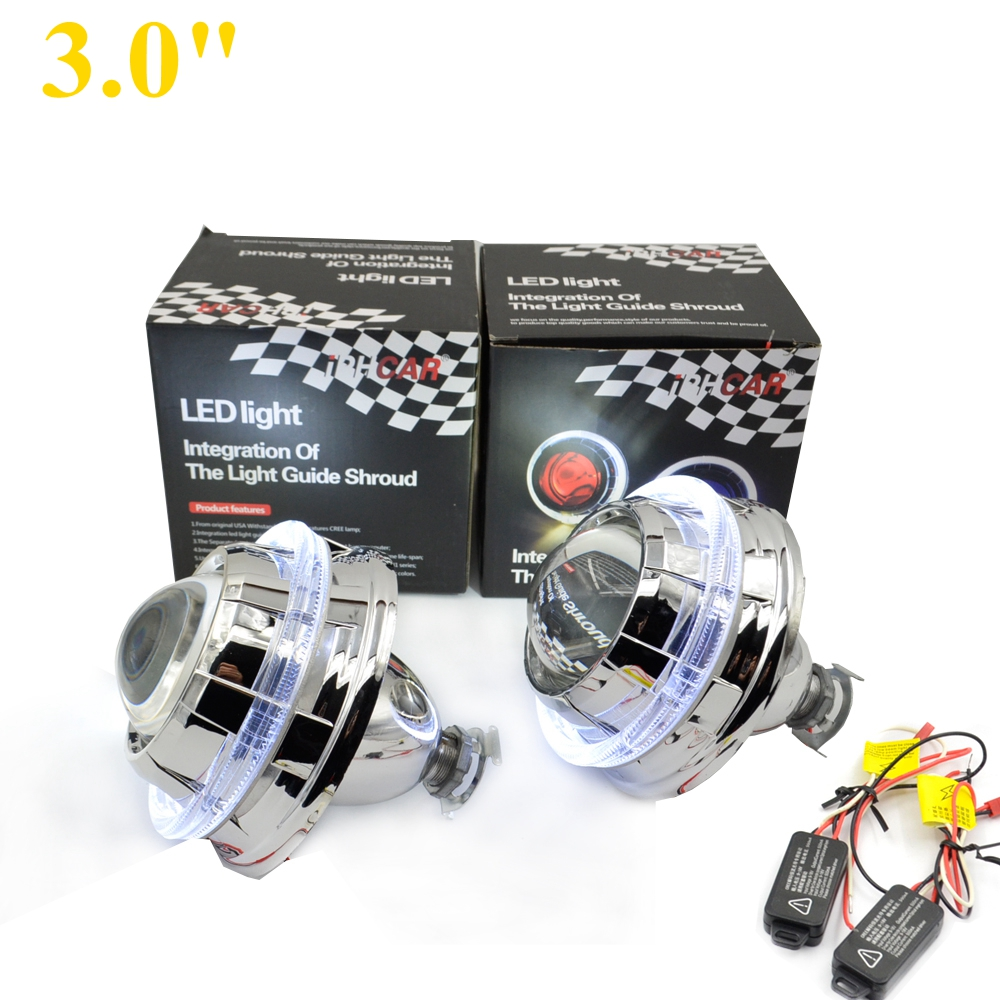 2pcs 3.0 inch car Bi xenon Bixenon hid Projector lens metal holder WST with led day running light hid xenon kit H1 H4 H7 royalin car styling hid h1 bi xenon headlight projector lens 3 0 inch full metal w 360 devil eyes red blue for h4 h7 auto light
