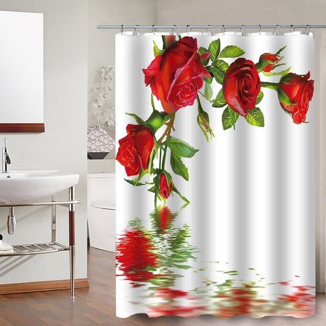 FOKUSENT di Alta Qualità Bella Rosa Rossa Tessuto In Poliestere Bagno Impermeabile 3D Tenda Della Doccia Decorazione di Cerimonia Nuziale Della Tenda