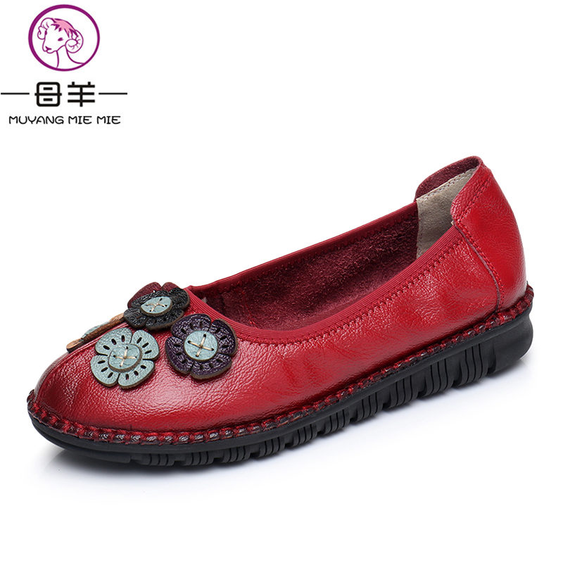 MUYANG MIE MIE Women Shoes Woman Autumn Soft Genuine Leather Flat Shoes Vintage Flower Casual Women Flats muyang mie mie genuine leather women shoes woman casual flower single flat shoes soft comfortable women flats