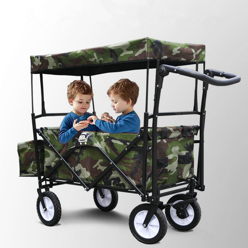 Foldable Kids Wagon with Removable Canopy, Outdoor Cart with Rubber Wheel, Twins Stroller with Adjust Handle for Camping Beach outdoor beach trailer with widen 10cm rubber wheel foldable kids wagon portable twins cart with roof outdoor beach carriage