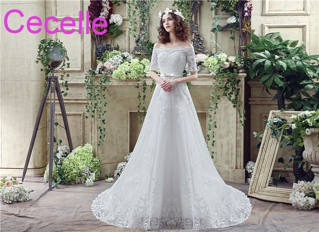Lace Wedding Dresses 2019 Off the Shoulder Half Sleeves Beaded Lace  Appliques Lace-Up Back Country Western Bridal Gowns RUSTIC 30c13d8f369c