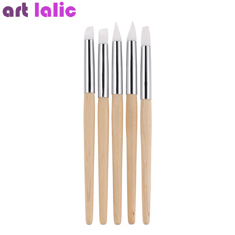 5Pcs/set Nail Sculpture Carving Pen Silicone Head Wooden Handle 3D DIY Nail Art Painting Brush Emoss Craft Manicure Tool 5pcs nail art pen brush soft silicone carving craft pottery sculpture emboss shaping hollow building clay manicure dotting tools