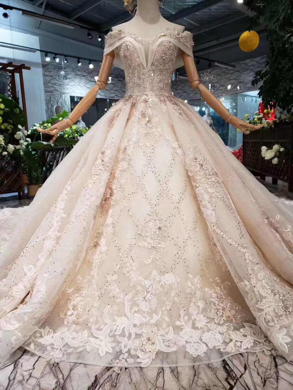 1199a5e59a Luxurious Vestido De Noiva 2019 Ball Gown Off The Shoulder Wedding Dress  Lace Embroidery Dubai Arabic Wedding Gown Bridal Dress