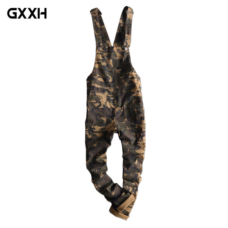 2018 New Fashion Camouflage Design Jeans Denim Overalls Men Casual Wash Skinny Bib Overalls Jeans Male Jumpsuit Jean Pant